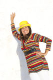 De gelukkige rijpe kleurrijke vrouw van het portret Stock Foto