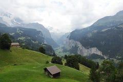 De mooie rivier george van Weisse Lutschine in Alpen, Zwitserland Stock Afbeeldingen