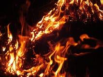 De mooie rode vlambrandwonden in het gras bij nacht stock afbeelding