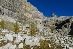 De mooie rotsachtige bergen van Dolomietalpen Dolomiti Di Brenta Stock Foto's