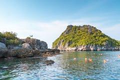 De mooie Rotsen met vegetatie en de Zwemmers zwemmen in het overzees onderaan blauwe hemel stock foto's