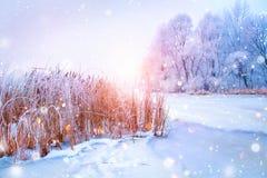 De mooie scène van het de winterlandschap met ijsrivier Stock Afbeelding