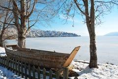 De mooie scène van de de wintersneeuw in Kastoria, Griekenland stock foto's