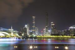De mooie scènes van de het Parknacht van Guangzhou Haixinsha stock afbeeldingen