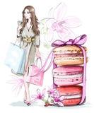 De mooie schets plaatste: maniervrouw met het winkelen zakken, zoete leuke macarons met boog en bloemen vector illustratie