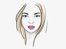De mooie schets van het vrouwenportret stock illustratie