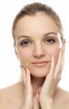 De mooie schone huid van het Vrouwengezicht Stock Afbeelding