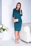 De mooie sexy elegante groene manier van de donkerbruine vrouwenslijtage Stock Afbeelding