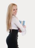 De mooie sexy leraar draagt boeken Stock Afbeelding