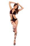 De mooie sexy Nachtclub gaan-gaat dansersvrouw met lang haar Stock Afbeelding