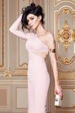 De mooie sexy vrouw in de elegante Inzameling van de kledings modieuze herfst van make-up van het de lente de lange donkerbruine  Royalty-vrije Stock Foto