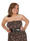 De mooie sleeveless kleding van de Blondevrouw royalty-vrije stock foto's