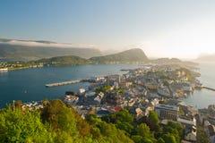 De mooie stad van Alesund Stock Afbeelding