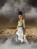 De mooie Steampunk-Achtergrond van Vrouwengrunge royalty-vrije stock afbeelding