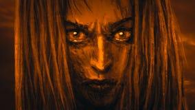 De mooie strijder van de gezichtsprinses met een kwaad blik stock illustratie