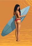 De mooie surfer die van de meisjes sexy hete vrouw met surfplank, geslacht surfen royalty-vrije illustratie