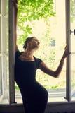 De mooie sylph donkerbruine vrouw met maakt Stock Afbeeldingen