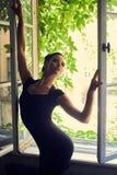 De mooie sylph donkerbruine vrouw met maakt Royalty-vrije Stock Fotografie