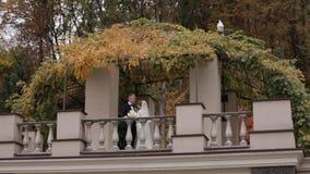 De mooie tribune van het huwelijkspaar op het balkon van de teherfst, achtergrond van bos stock videobeelden