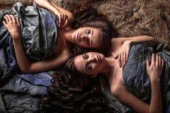 De mooie tweelingen jonge vrouwen met natuurlijke samenstelling en haarstijl die met hun krullend haar liggen omringen hen Royalty-vrije Stock Foto
