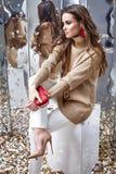 De mooie van de de make-upslijtage van het vrouwen sexy perfecte mooie gezicht beige wol Royalty-vrije Stock Afbeelding
