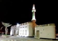 De mooie verlichte moskee van Muharraq corniche, HDR Royalty-vrije Stock Fotografie