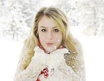 De mooie vlokken van de vrouwen blazende sneeuw Royalty-vrije Stock Afbeelding