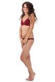 De mooie volledige vrouw van de lichaams donkerbruine schoonheid in sexy ondergoed Royalty-vrije Stock Foto