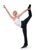 De mooie vrouw danst oefeningen Stock Foto's