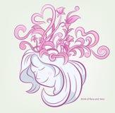 De mooie vrouw denkt met bloemen en hart, kersenbloesem, rozen Roze achtergrond Vector royalty-vrije illustratie
