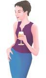 De mooie vrouw geniet van een glas wijn Stock Foto