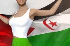 De mooie vrouw in heldere rok houdt de Westelijke vlag van de Sahara terug in handen achter haar op de witte achtergrond - markee vector illustratie