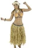 De mooie vrouw kleedde zich in Hawaiiaans kostuum stock foto