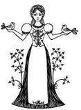 De mooie vrouw kleedde zich in traditioneel kostuum houdend twee duiven in haar handen Stock Foto's