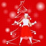 De mooie vrouw kleedt omhoog de Kerstboom Vectorillustrati Royalty-vrije Stock Foto's