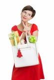 De mooie Vrouw met Kerstmis stelt voor Stock Foto's