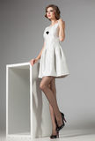 De mooie vrouw met lange sexy benen kleedde het retro elegante stellen in de studio Stock Afbeelding