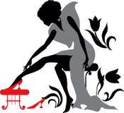 De mooie vrouw probeert op schoenen vector illustratie