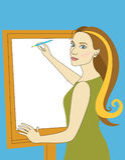De mooie vrouw trekt Royalty-vrije Stock Afbeelding
