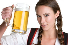 De mooie Vrouw van het Bier Stock Afbeeldingen