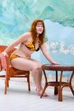 De mooie vrouw van het portret in badpak Stock Fotografie