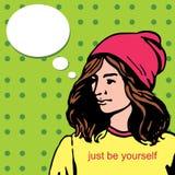 De mooie vrouw van het yuong modieuze meisje bij hoed, hipster hoofd, het spreken, ballon retro ontwerp stock illustratie