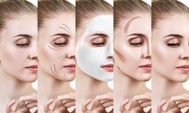 De mooie vrouw verbetert stap voor stap haar huidvoorwaarde Royalty-vrije Stock Afbeelding