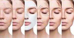 De mooie vrouw verbetert stap voor stap haar huidvoorwaarde Stock Foto