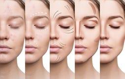 De mooie vrouw verbetert stap voor stap haar huidvoorwaarde Stock Fotografie