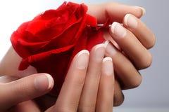 De mooie vrouwelijke vingers met ideale Franse manicure wat betreft rood namen toe Zorg over vrouwelijke handen, gezonde zachte h Stock Foto's