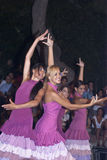 De mooie vrouwen van de mensen van Spanje groeperen zich. dansers Royalty-vrije Stock Fotografie