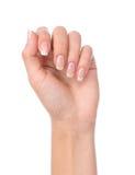 De mooie vrouwenhand met het Frans manicured spijkers stock foto