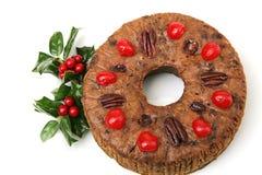 De mooie Vruchtencake van Kerstmis royalty-vrije stock foto's