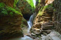 De mooie waterval is in de Westelijke Kaukasus Royalty-vrije Stock Afbeelding